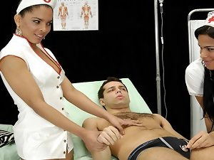 Two TS sexy nurses taking care about a young guy. Another threesome scene form the noughty Andrea Nobili's hospital.