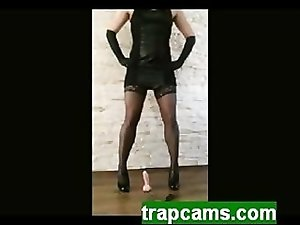Leather clothed amateur tranny