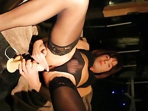 crossdresser dildo cum feet